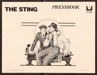 9g372 STING pressbook '74 best artwork of con men Paul Newman & Robert Redford by Richard Amsel!