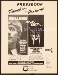 9g386 WILLARD/BEN pressbook '73 classic killer rat movies teamed up to tear 'em up!