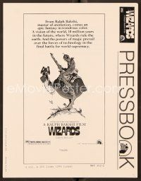 9g387 WIZARDS pressbook '77 Ralph Bakshi directed animation, cool fantasy art by William Stout!