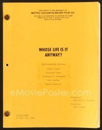 9g262 WHOSE LIFE IS IT ANYWAY final draft script '80 by Clark, Rose, Bachmann, Badham & Collins!