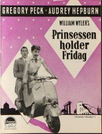 9g202 ROMAN HOLIDAY Danish program '54 different images of sexy Audrey Hepburn & Gregory Peck!