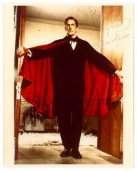 9k101 VINCENT PRICE signed color 8x10 REPRO still '80s full-length portrait in doorway with cape!
