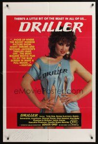 9r025 DRILLER signed 1sh '84 by Timothy Green Beckley, sexy Taija Rae in sexy Thriller parody!
