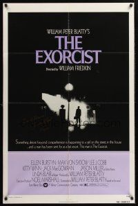 9r026 EXORCIST signed 1sh '74 by Linda Blair, William Friedkin/William Peter Blatty horror classic!