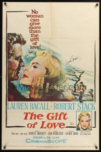 9r027 GIFT OF LOVE signed 1sh '58 by BOTH Lauren Bacall AND Robert Stack, great romantic art!