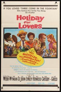 9r029 HOLIDAY FOR LOVERS signed 1sh '59 by Carol Lynley, who's pictured w/Jane Wyman, Jill St. John