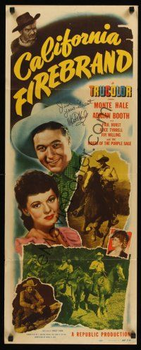 9r037 CALIFORNIA FIREBRAND signed insert '48 by Monte Hale, great smiling image with Adrian Booth!