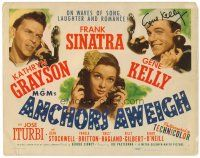 9r038 ANCHORS AWEIGH signed TC '45 by Gene Kelly, art of sailors Frank Sinatra & w/ Grayson!