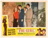 9r046 FBI GIRL signed LC #3 '51 by Audrey Totter, who's being marched out at gunpoint!
