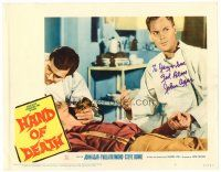 9r052 HAND OF DEATH signed LC #6 '62 by John Agar, helping youthful victim of the monster!