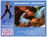9r055 LIVING DAYLIGHTS signed LC '87 by Maryam d'Abo, who's in bed w/ Timothy Dalton as James Bond!