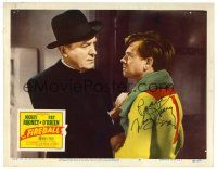 9r048 FIREBALL signed LC #6 '50 by Mickey Rooney, who's glaring at priest Pat O'Brien!