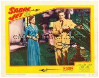 9r061 SABRE JET signed LC #4 '53 by Robert Stack, who's standing next to pretty Coleen Gray!