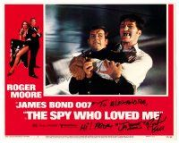 9r066 SPY WHO LOVED ME signed LC #2 '77 by Richard Kiel, who's fighting Roger Moore as James Bond!