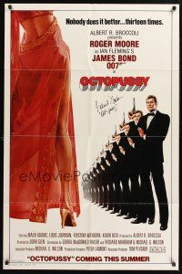 9r031 OCTOPUSSY signed style A advance 1sh '83 by Maud Adams, art of her & Moore as James Bond!