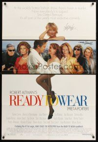 9r032 PRET-A-PORTER signed 1sh '94 by BOTH Sophia Loren AND Lauren Bacall, directed by Robert Altman