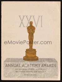 9r001 26TH ANNUAL ACADEMY AWARDS signed program '54 by Liz Taylor, Frank Sinatra & EIGHT others!