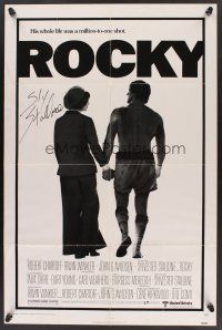 9r023 ROCKY signed 1sh '77 by Sylvester Stallone, holding hands with Talia Shire, boxing classic!