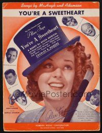 9r077 ALICE FAYE signed sheet music '37 on You're a Sweetheart, cool image of Faye in top hat!