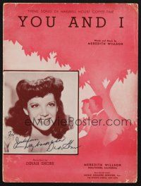 9r078 DINAH SHORE signed sheet music '41 You and I, head & shoulders image of young sexy Dinah!