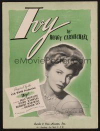 9r079 JOAN FONTAINE signed sheet music '47 Ivy by Hoagy Carmichael, pretty image of Joan!