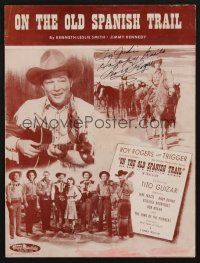 9r080 ROY ROGERS signed sheet music '47 On the Old Spanish Trail, many images of Roy!