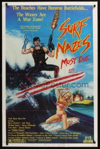 9r033 SURF NAZIS MUST DIE signed 1sh '87 by BOTH Dawn Wildsmith AND Robert Tinnell, Troma!