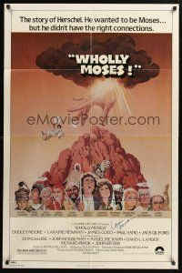 9r034 WHOLLY MOSES signed 1sh '80 by Laraine Newman, great Jack Rickard art of the entire cast!