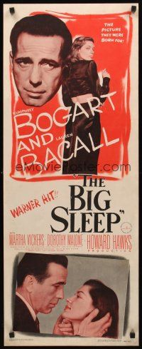 9t001 BIG SLEEP insert '46 Humphrey Bogart, sexy Lauren Bacall, directed by Howard Hawks!