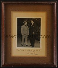 9w002 RONALD REAGAN signed framed 8x10 photo '40s inscription to Junior Coghlan with image of both!