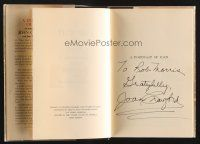 9w015 JOAN CRAWFORD signed hardcover book '62 her autobiography A Portrait of Joan!