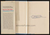 9w020 MAURICE CHEVALIER signed hardcover book '70 his autobiography I Remember It Well!