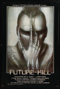 9w056 FUTURE-KILL signed 1sh '84 by Edwin Neal, cool science fiction artwork by H.R. Giger!