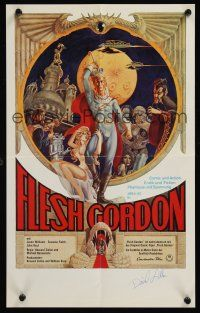 9w069 FLESH GORDON signed German 12x19 '75 by David Allen, who worked on the special effects!