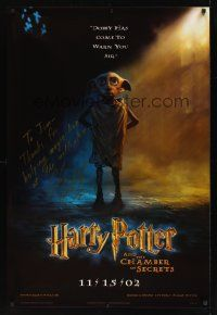 9w058 HARRY POTTER & THE CHAMBER OF SECRETS signed DS teaser 1sh '02 by director Chris Columbus!