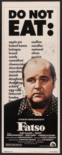 9w053 FATSO signed insert '80 by Dom DeLuise, hilarious best image, directed by Anne Bancroft!