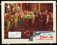 9w072 COLT .45 signed LC #5 '50 on an index card by Randolph Scott, which was cut into the card!