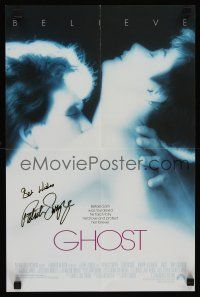 9w066 GHOST signed mini poster '90 by Patrick Swayze, classic image with sexy Demi Moore!
