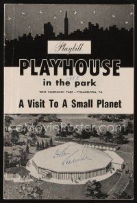 9w029 ARTHUR TREACHER signed playbill '58 when he appeared on stage in A Visit to a Small Planet!