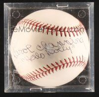 9w078 CAROL CHANNING signed baseball in plastic display case '00s she wrote her name & Hello Dolly!