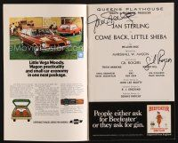 9w033 COME BACK LITTLE SHEBA signed playbill '74 by BOTH Jan Sterling AND Gil Rogers!