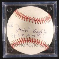 9w080 FRANK COGHLAN JR. signed baseball in plastic display case '00s he wrote his name & SHAZAM!!!