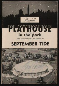 9w035 GIG YOUNG signed playbill '58 when he appeared on stage in September Tide!