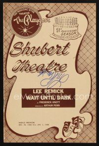 9w038 LEE REMICK signed playbill '66 when she appeared on stage in Wait Until Dark!