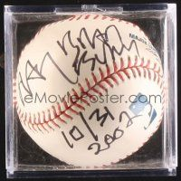 9w081 RAY BRADBURY signed baseball in plastic display case '02 the great author of Fahrenheit 451!