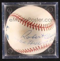 9w082 ROBERT CLARKE signed baseball in plastic display case '00s he wrote The Hideous Sun Demon!