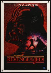 9w064 RETURN OF THE JEDI signed REPRO 1sh '83 by David Prowse, who was Darth Vader!
