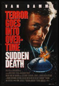 9w062 SUDDEN DEATH signed 1sh '95 by Jean-Claude Van Damme, terror goes into overtime!