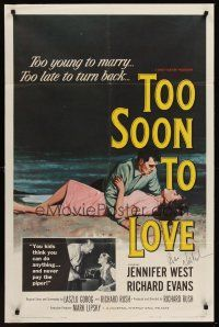 9w065 TOO SOON TO LOVE signed 1sh '60 by Jack Nicholson, who isn't pictured or billed in 2nd role!