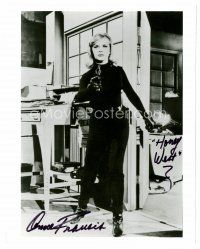 9z232 ANNE FRANCIS signed 8x10 REPRO still '80s full-length sexy c/u in all black as Honey West!